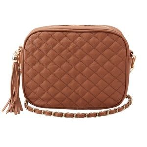 Charlotte Russe Bronze Quilted Crossbody Bag